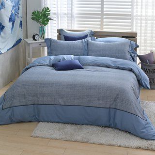(Extra large) Moonlight - Blue hand tie - High quality 60 cotton dual-use bedding package four-piece group [6*7 feet]