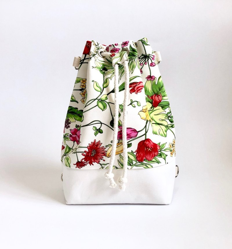Imitation hand-painted flowers 3way beam bucket bag (hand / shoulder / back)