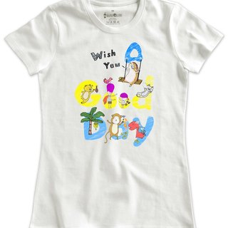 Classic white short-sleeved T-shirt _A good day! (Female M out of stock)