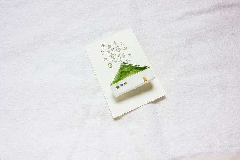 Hand made Japanese light clay green roof house pin brooch magnet accessories one piece