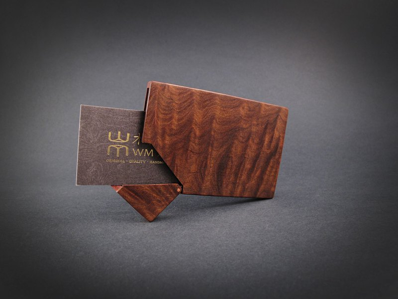 Selected Texture Series / Handmade Log Card Holder / Wooden Card Case / Paraguay Rosewood