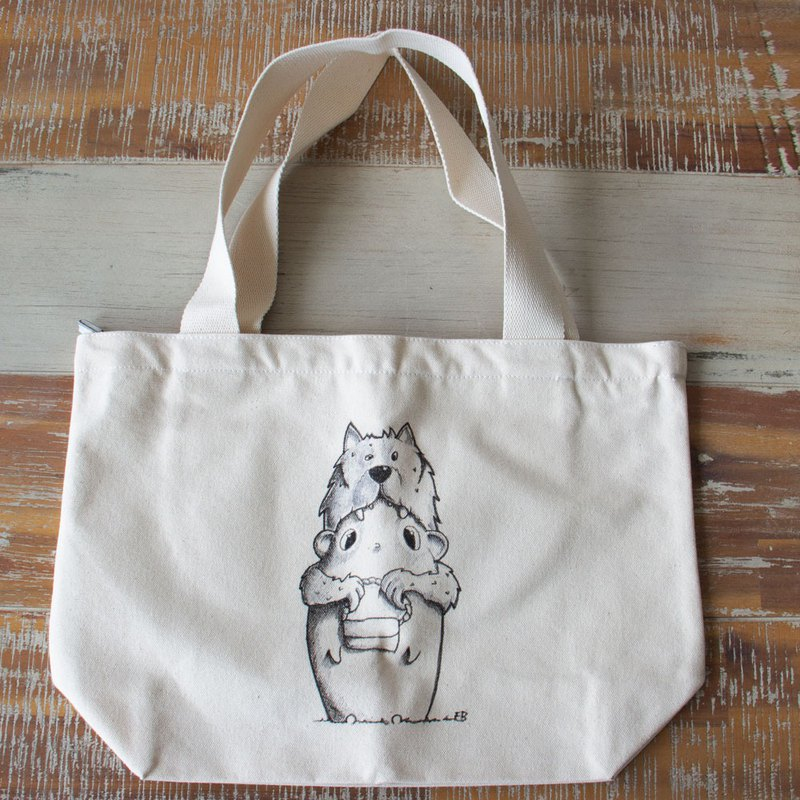 Hand drawing  canvas tote bag  A