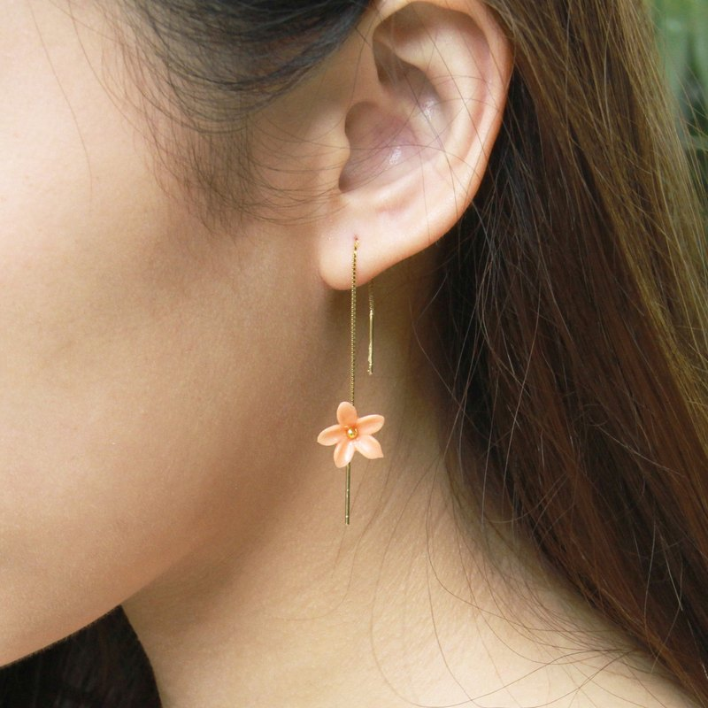 Pamycarie Spring resin clay flower earrings 925 silver gilt