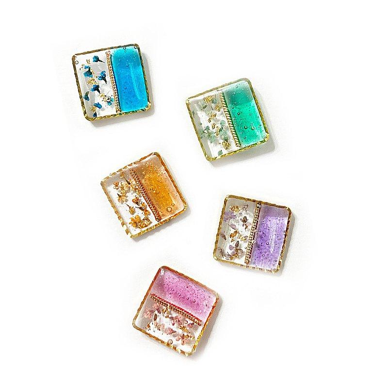 日本樹脂乾燥花果凍透感耳環(可改夾)