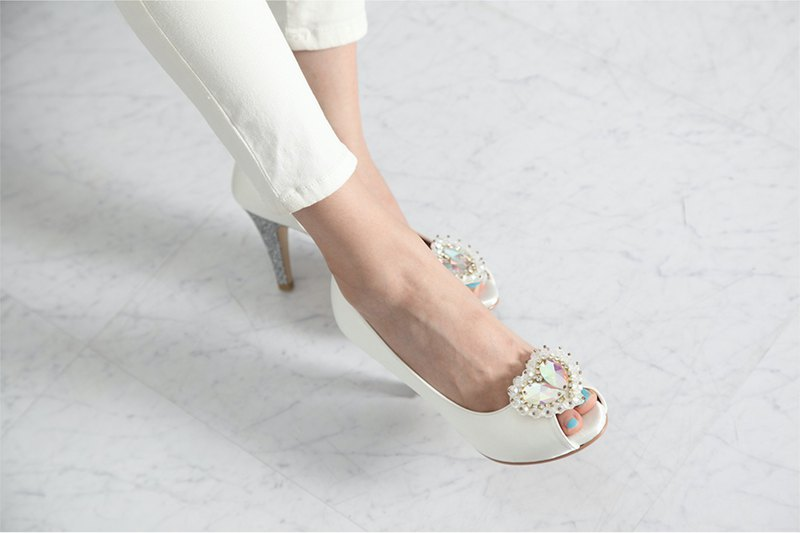 Open toe platform wedding shoes with crystal heart corsage