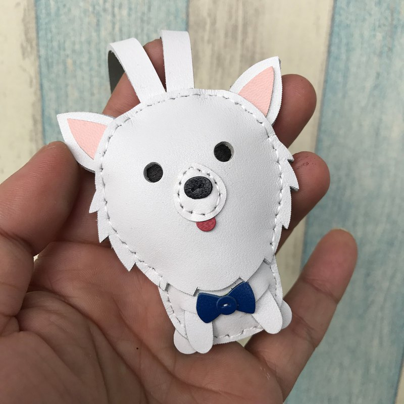 Leatherprince handmade leather Taiwan MIT white cute Pomeranian hand-stitched leather strap small size small size