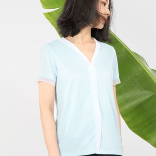 V-Neck Yarn Reflector Suction T-Blue