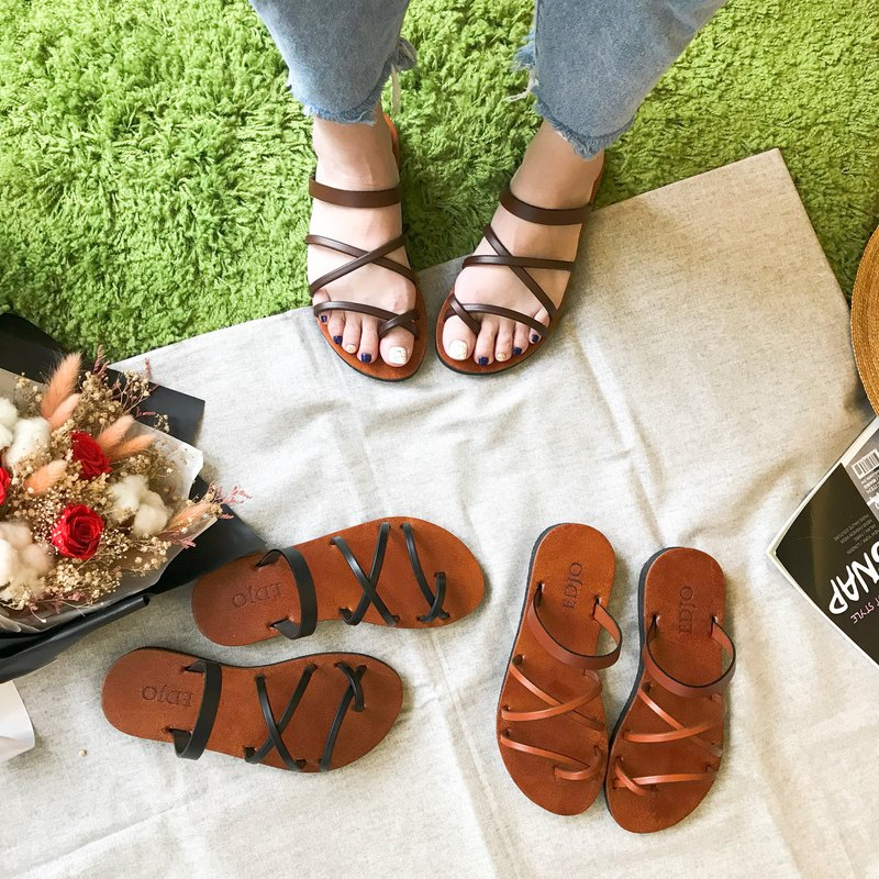 Handmade leather rope slippers, vegetable tanned leather, leather slippers