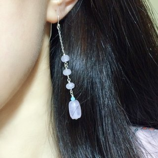 925 silver-rose quartz & amazonite earrings