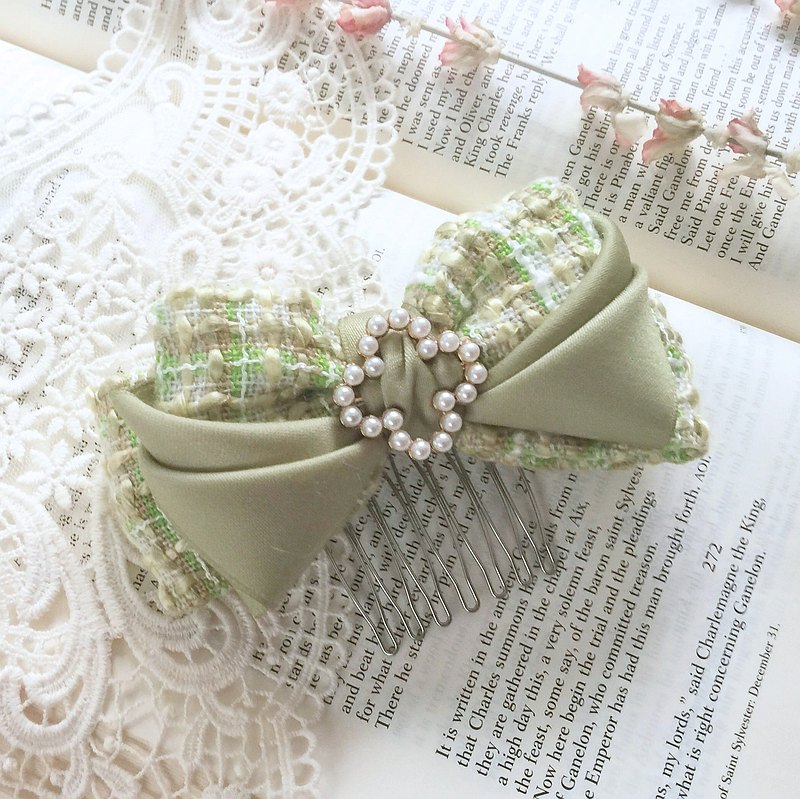 Fruit green / elegant small fragrance multi-layer three-dimensional bow intersecting clip spring clip French clip hair fork clip
