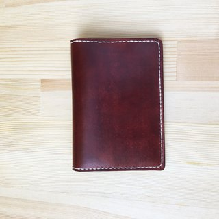 [Ji Ji] hand-stitched tanned leather passport cover _ red brown