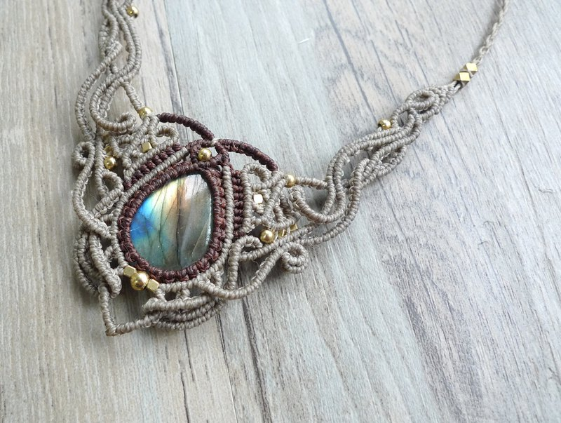 Misssheep-N33 linen ethnic style two-tone South American wax braided brass labradorite necklace