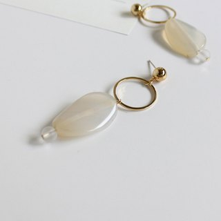 [manon #3 agate earrings] Sterile silver ear pin / clip-made