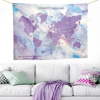 World map wall decoration cloth lavender star tarpaulin