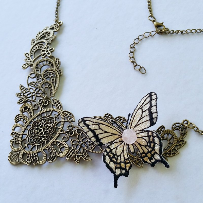 Custom models ~ brass, carved pink crystal, butterfly embroidery necklace Pink quartz, butterfly ecklace