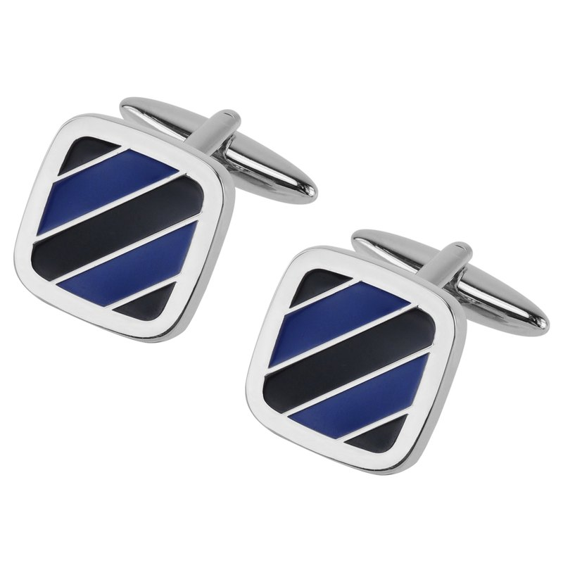 Blue Tone Diagonal Stripe Cufflinks