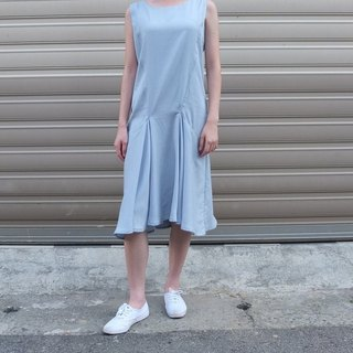 Sky blue round collar sleeveless dress (sky blue the current batch of color depth map)