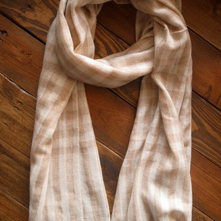Cashmere Stripes Shawl / Scarf / Stole Handmade from Nepal Plaid_Brown