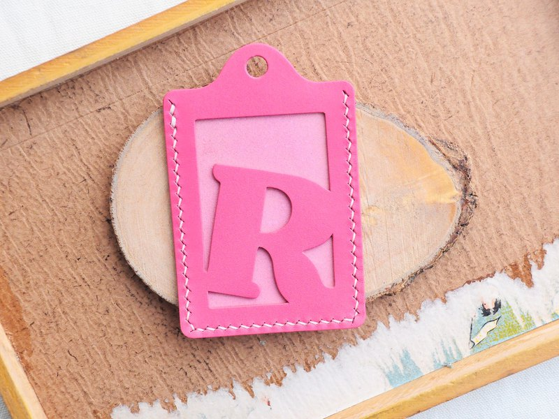 Initial text R letter certificate set well stitched leather material package card holder business card holder free engraving