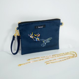 humming- Embroidery Bag /clutch / Hobo bag / sapphire
