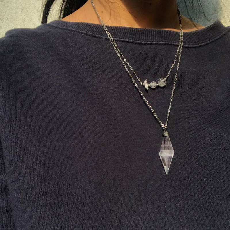 【Lost And Find】Natural clear Quartz cloud 925 bird  necklace