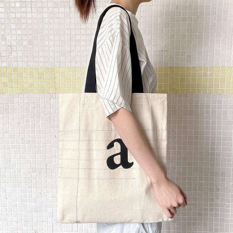 字母單行簿, a至m, 厚帆布布袋, 全人手製Tote Bag