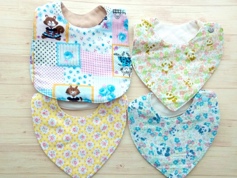 Japanese Double Gauze Baby Bibs, Set of 4 - #3