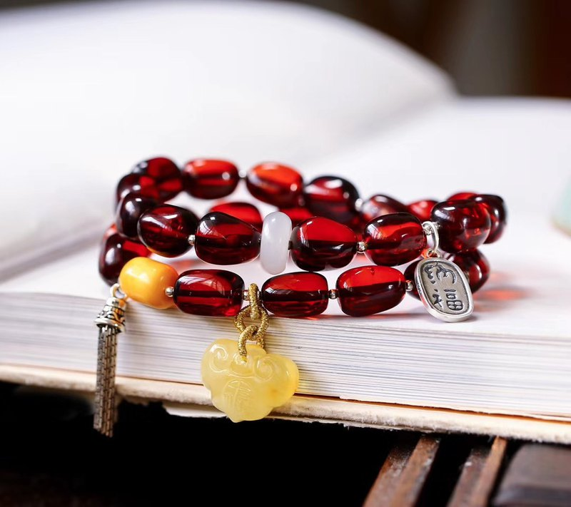 [welfare price] natural blood stalk with double ring bracelet / with beeswax / sterling silver accessories