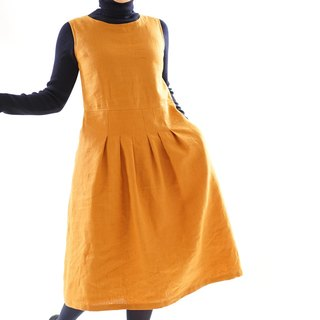 Warm linen lined interior sleeveless stitch tack dress, zipper specification / Murisier /a62-9