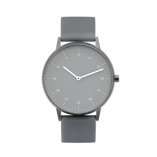 BIJOUONE B40 GUNMETAL WATCH ON RUBBER STRAP, GRAY