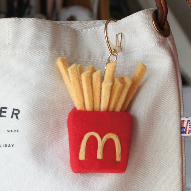 Wool felt hand-made McDonald's fries key ring / key chain original food series girlfriends exchange gifts