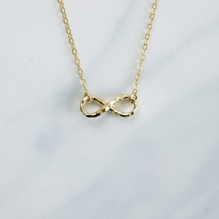 Hammered Infinity Necklace | 14K Gold Filled