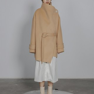 Asymmetrical Mid-Length Wool Winter Coat