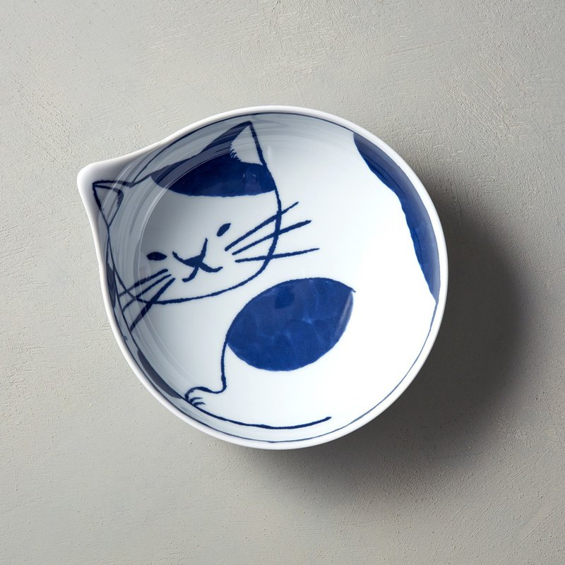 Ishimaru Hatasumi-neco cat round bowl-spotted cat