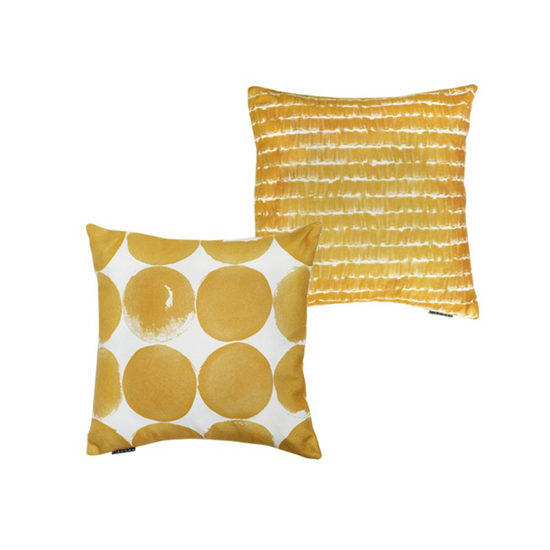 Draft Nordic ins summer model room sofa bay window living room bed headrest pillow pillow ink dot mustard yellow