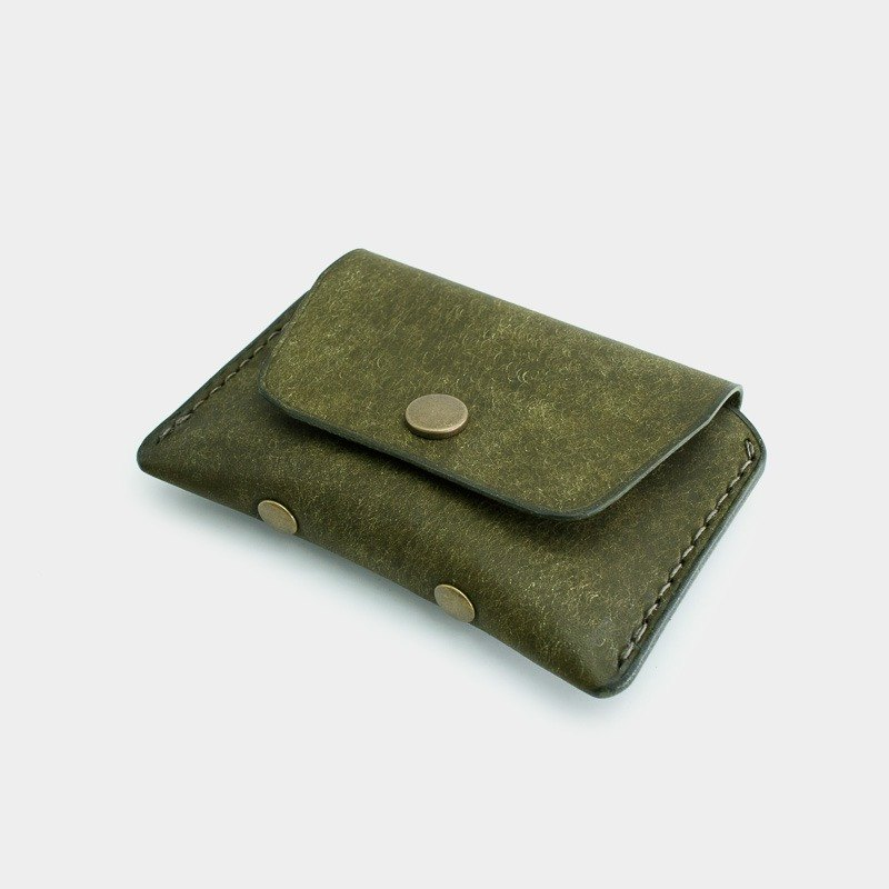 RENEW - Coin purse Italian vegetable tanned leather hand-stitched olive green Oliva card pack