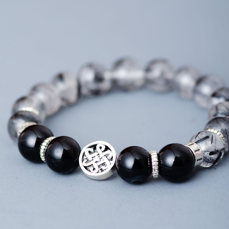 Black Rutilated Quartz, Agate 925 Sterling Silver Natural Crystal Bracelet
