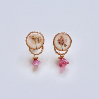 Pink Pressed Flower Earrings with Tiny Floral Beads