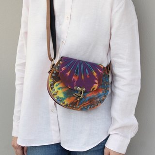 Bohemian Cross Body Bag Sling Bag Canvas Leather Studded Bag Tie Dyed