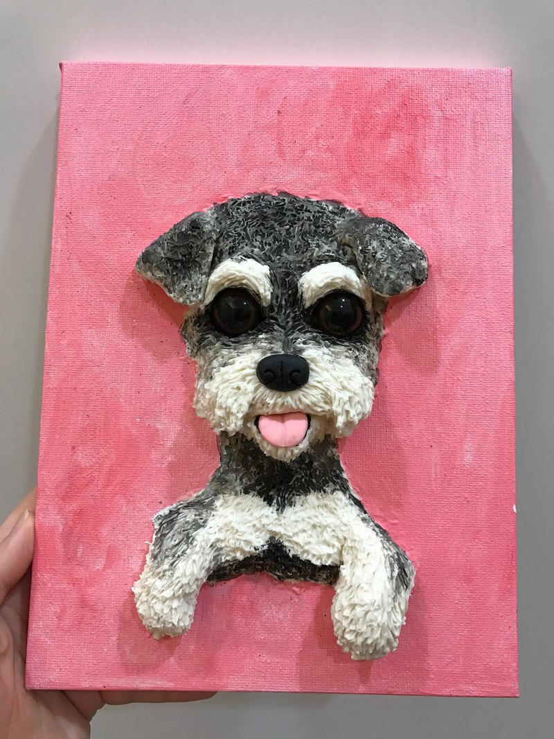 Schnauzer dog spot zebra and original pet portrait single three-dimensional doll made only dog ​​cat doll doll custom custom painting