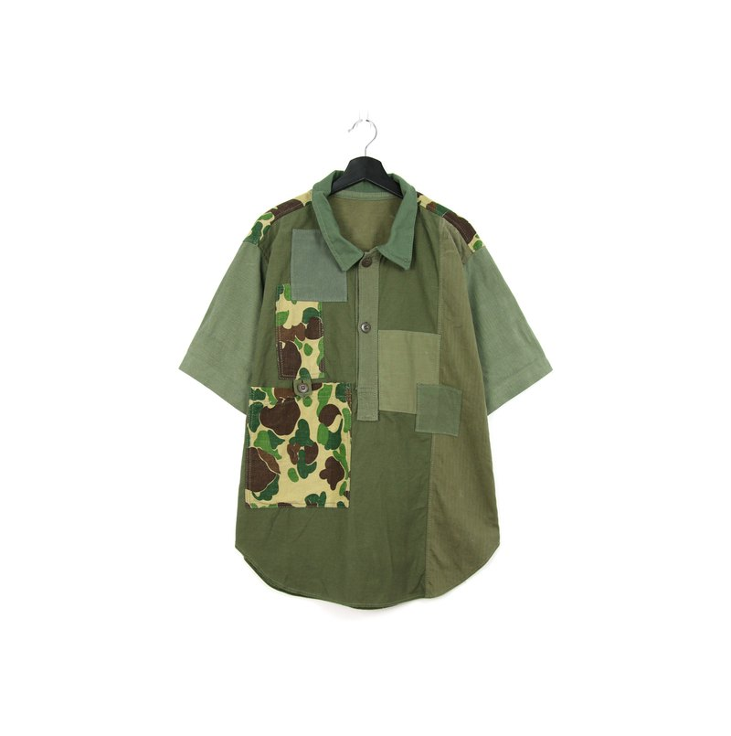 Back to Green:: Army Green Camouflage Re-splicing //vintage remake