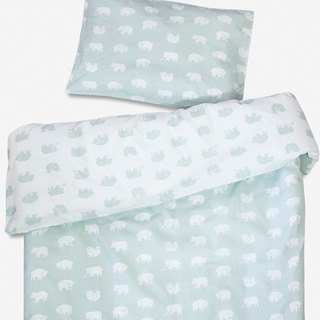 Organic quilt cover pillowcase in two pieces – BJÖRN BED SET, SAGE GREEN