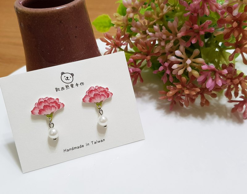 Pour ma mère beautiful carnation earrings ear clips - flowers series