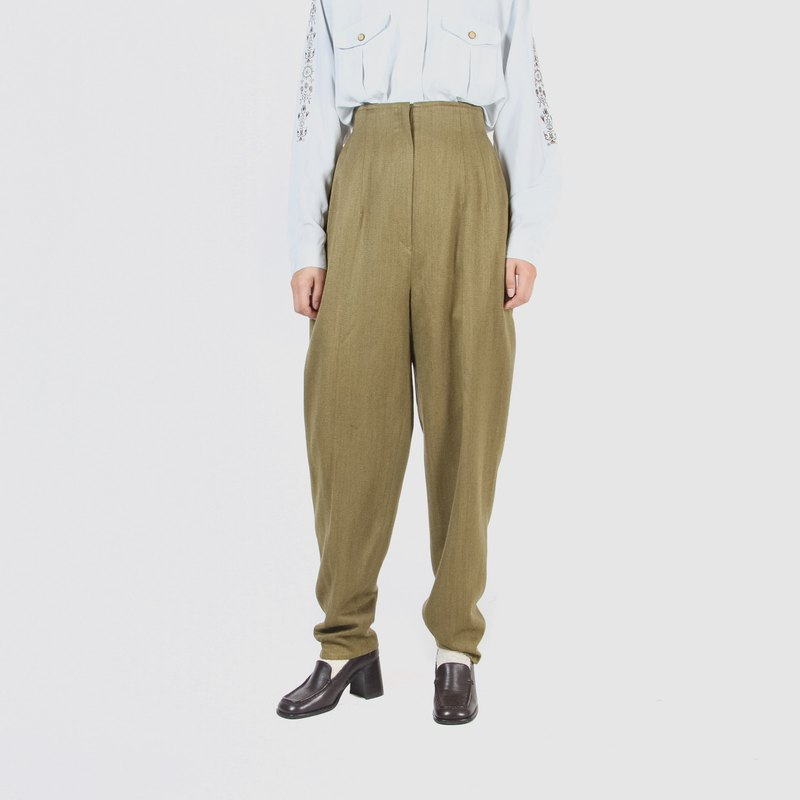 [Egg plant ancient] fragrant gold enamel wool vintage high waist trousers