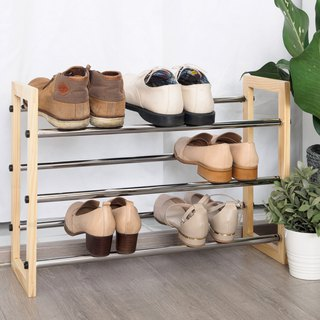 LIGFE 3-Tier Natural Free Stand Shoe Rack