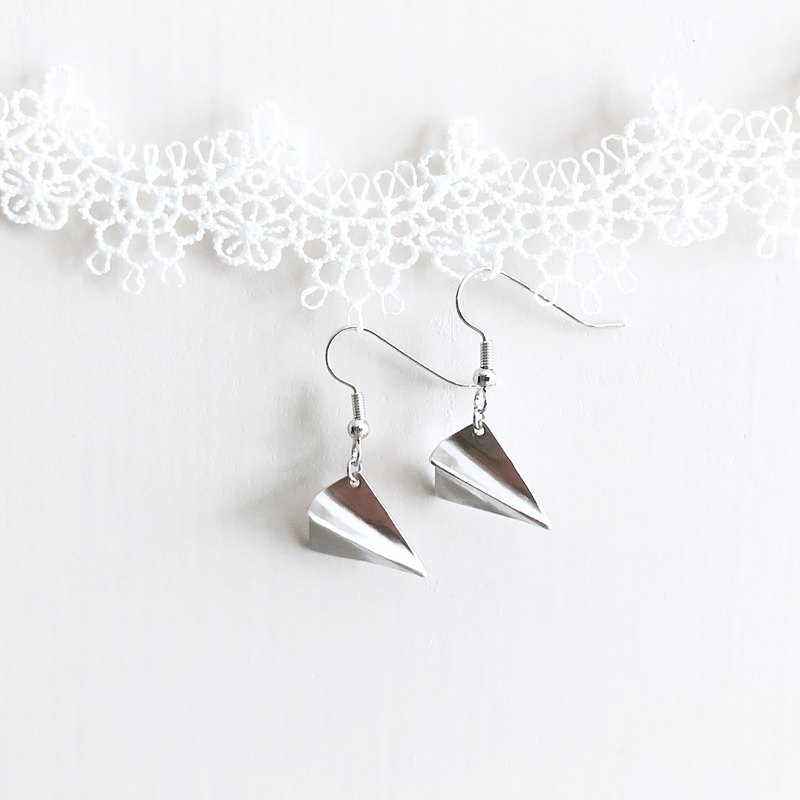 Silver plane. Paper plane dangle earrings Sliver. Paper Airplane Earrings