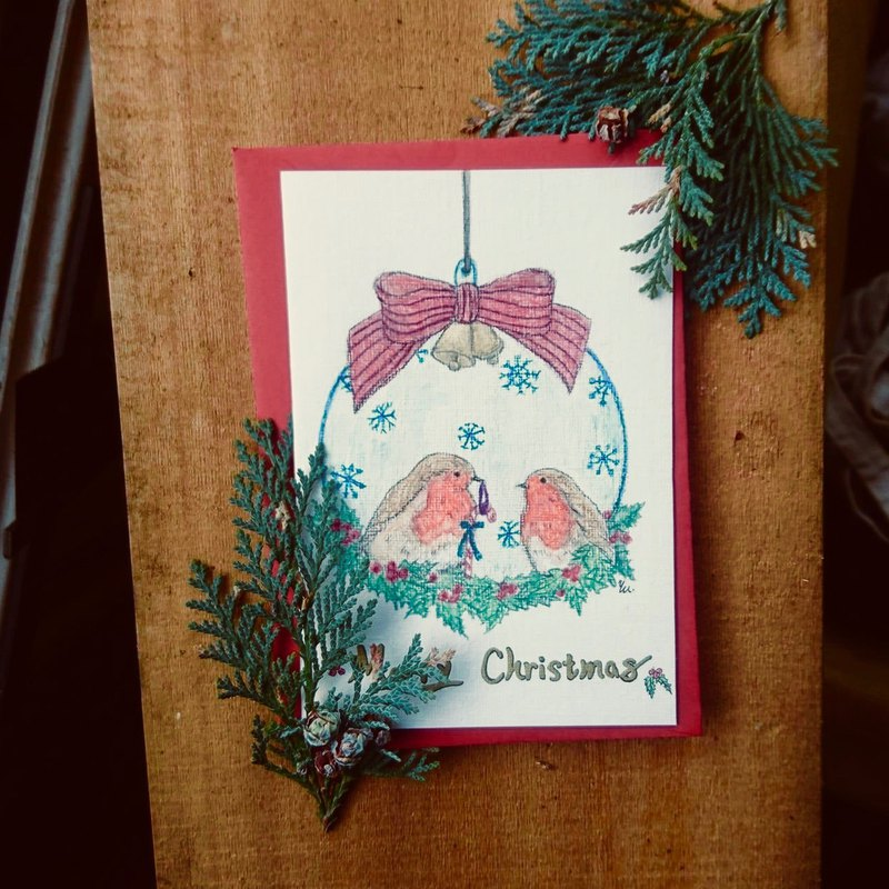 Charm robin hand-painted Christmas card limited hand-made cards hand-made cards card design hand-painted illustration