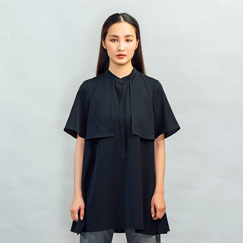 Black long half-placket short-sleeved shirt-length can be modified and adjusted for free