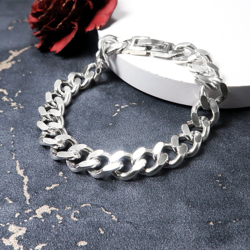 Extremely thick rope bracelet 925 sterling silver men's bracelet Cuban chain