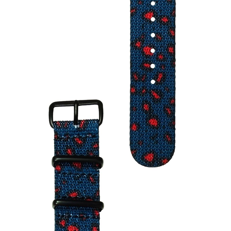 HYPERGRAND Military Strap - 20mm - MILIBAND Blue Red Leopard (Black Buckle)